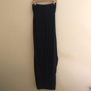 Black Maxi Maternity Dress with Built In Bra